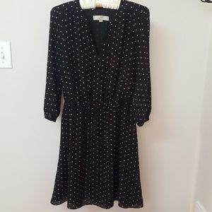 LOFT black dot dress- xs NWOT